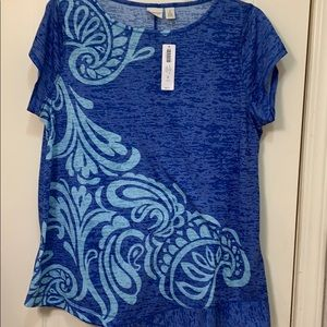 Chico's Short sleeve blue top with angled hem,New